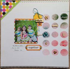 MWM - Marigold #2  Paper pack by: @Doodlebug Design - Colorwheel    Studio Calico Stencil with Mister Huey's color mists: Bonny Blue; Pretty Pink; & Tannenbaum  Wood veneer shapes   @scrapbooksteals  @studio_calico
