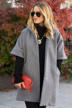 emerson fry topper:  I instantly felt chic in this all black (sweater + pants + heels) combo, but loved it even more with the structured grey topper over it.