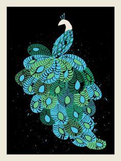 Peacock silk screen poster