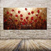 100% pintado a mano con textura espátula flor roja pintura al óleo abstracta moderna de la lona Wall Art Living Room Decor imagen