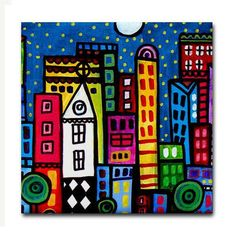 Xmas Delivery Available- NY New york City art Tile Ceramic Coaster Mexican Folk Art Print of painting by Heather Galler