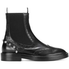 Balenciaga Embellished Leather Chelsea Boots (€745) ❤ liked on Polyvore featuring shoes, boots, chelsea boots, leather boots, chelsea ankle boots, black boots and black leather boots