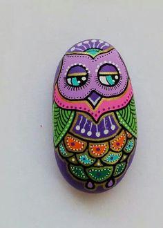 Painted rocks - fancy owl
