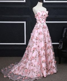 Cheap Pink Prom Dresses ,A-line Strapless Evening Dress, Floral Long Prom Dress ,Elegant Party Dress Floral Prom Dresses, Elegant Party Dresses, A Line Prom Dresses, Pretty Dresses, Pink Dresses, Dress Prom, Wedding Dresses, Prom Dresses Flowers, A Line Dress Formal