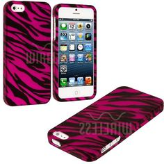 Amazon.com: myLife (TM) Hot Pink + Black Zebra Stripes Series (2 Piece Snap On) Hardshell Plates Case for the iPhone 5/5S (5G) 5th Generatio...