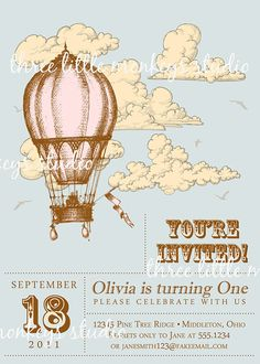 Custom Vintage Hot Air Balloon Invitation by 3LittleMonkeysStudio