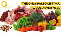 Ever wonder what's in a paleo diet? We created a complete guide of paleo foods that should be in your grocery list. Paleo Vegan Diet, Paleo Diet Food List, Meat Diet, Paleo Diet Plan, Fruit And Vegetable Diet, Meat Fruit, Fresh Fruits And Vegetables, Vegetable Ideas, Clean Recipes