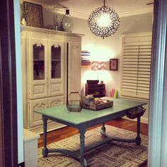 Craft room -Annie Sloan painted table in Provence, large piece in old white