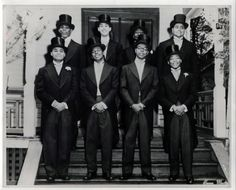 Martin Luther King Jr (fourth person from the left) pledges Alpha Phi Alpha Fraternity, Inc. at the Sigma Chapter (Boston Metro Chapter) in 1952 while a graduate student at Boston University.