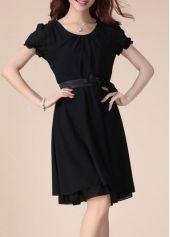 Solid Black Round Neck Lantern Sleeve Chiffon Dress