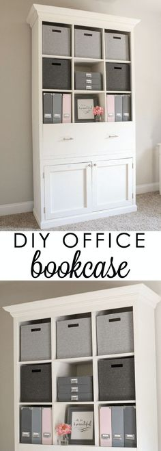 How to build a DIY Office Storage Cabinet that includes cubby shelves, a drawer, and cabinets. This DIY Office Cabinet provides the ultimate office storage. Farmhouse Office Storage, Home Office Storage, Home Office Organization, Home Office Space, Home Office Design, Organization Ideas, Closet Office, Apartment Office, Office Chic