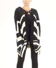 Love this Black & White Chevron Open Cardigan by Bacci on #zulily! #zulilyfinds