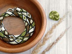 Bead Crochet Necklace Summer Sand by Chudibeads on Etsy, $65.00