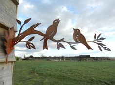 Rusty Metal Birds upon a branch - Decorative Bird Wall Art  This decorative garden bird art makes a beautiful addition to your garden structure, adding interest to any wall or structure.  Complete with a small base plate in the shape of a leaf, complete with two holes, these birds upon a branch can easily be attached to a fence, wooden post or walled area  Branch - Length 40cm, Height of largest bird 13cm (Leaf - Length 15cm, Width 10cm)  We also a similar listing but of four birds on a…