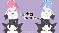 Ram and Rem (Re: Zero) Minimalist Wallpaper by Chimozuki.deviantart.com on @DeviantArt