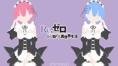 Ram and Rem (Re: Zero) Minimalist Wallpaper by Chimozuki.deviantart.com on @DeviantArt