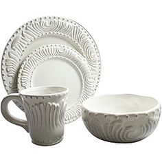 american atelier 16piece flute and bead dinnerware set