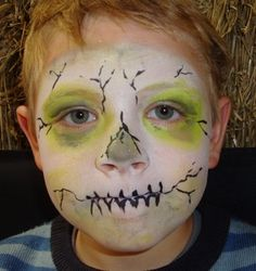 Zombie face painting for Plants v. zombies birthday party