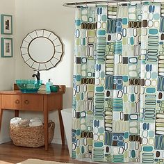 With a modern block pattern in shades of slate blue, vivid sage and chocolate brown , the m.style Mod Blocks Shower Curtain brings an exciting touch to any bathroom. Crafted from 100% polyester, this curtain is machine washable and easy to care for.