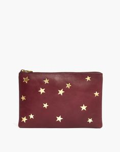 e80b8c534f99 The Leather Pouch Clutch  Star Embossed Edition in dark cabernet image 1
