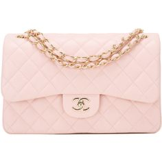 Pre-Owned Chanel Light Pink Quilted Lambskin Jumbo Classic Double Flap... (100.565.965 IDR) ❤ liked on Polyvore featuring bags, handbags, pink, colorful handbags, lambskin handbags, flap handbags, lambskin leather handbags and pink purse