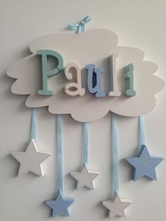 HAND PAINTED NAME SIGN Original and practical decoration for hanging or as a gift. Decorate the children's room individually with Diy Wooden Projects, Diy Sewing Projects, Wooden Diy, Baby Room Decor, Nursery Decor, Bricolage Baby Shower, Diy Crafts For Gifts, Paper Crafts, Baby Basinets