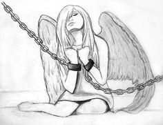 Angel chained down, sad, depression, mourning, suffering.