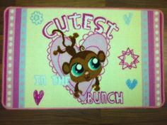 Littlest Pet Shop Cutest in the Bunch Monkey Rug by Hasbro. $14.99. Littlest Pet Shop cutest in the bunch monkey accent rug.. 17.5in x 28in. 100% nylon. Littlest Pet Shop cutest in the bunch monkey accent rug.