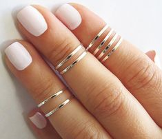 Fashion Jewelry 8 Above the Knuckle Rings - Silver stacking ring, Knuckle Ring, Thin silver shiny bands, Midi rings, Silver accessories Trendy Jewelry, Simple Jewelry, Cute Jewelry, Jewelry Rings, Jewelry Box, Jewelry Accessories, Fashion Jewelry, Jewlery, Jewelry Armoire