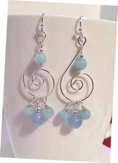 Aquamarine Chandelier Earrings Silver dangle by JewelzonJewelz