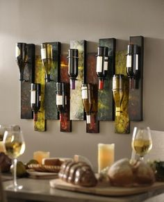 This Offset Panel Wine Bottle Holder is functional wall art at its finest. The contemporary design of this wall wine bottle holder adds interest to your room. Wall Wine Holder, Wine Bottle Holders, Bottle Rack, Wine Theme Kitchen, Kitchen Themes, Diy Kitchen, Kitchen Dining, Wine Bottle Wall, Wine Bottle Crafts