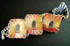 Eloxal Bracelet Vintage Orange Yellow Sunburst by RenaissanceFair