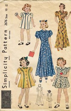 "Vintage Pattern Girls Frock Dress Beach House Coat Simplicity 2676 10 28"" 1940'S | eBay"