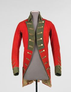 Red jacket with green revers and cuffs, worn by Colonel William Taylor of the 1st Connecticut Regiment, American, c. 1770's-1780's.