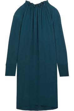 Marni - Gathered Crepe De Chine Mini Dress - Petrol - IT42