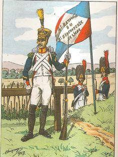 French; 8th Line Infantry, 4th Battalion, Voltigeur Sergeant & Battalion Standard., 1809