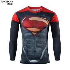 New 2017 Men's Compression Shirt spider-man Bodybuilding man Superman T Shirt Fitness Tights Long Sleeve Tshirt