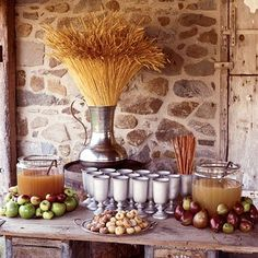 An apple cider serving station.