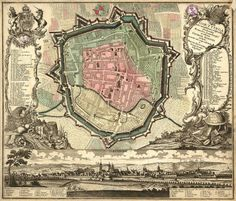 Vintage infographic Goettingen fortifications plan (1730) | Matthäus Seutter