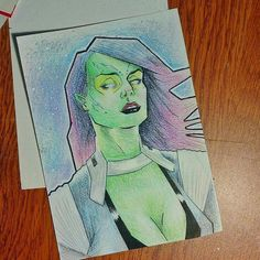 Gamora. Probando nuevos estilos// #Gamora #artist #savage #art #ink #illustration #comics #urban #follow #marvel #sketch #tattoo #movies #color #guardiansofthegalaxy