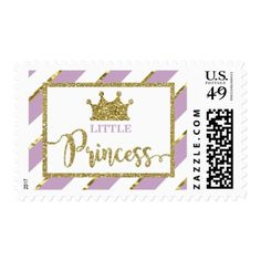 Little Priness Stamp Postage Faux Glitter Postage - birthday gifts party celebration custom gift ideas diy