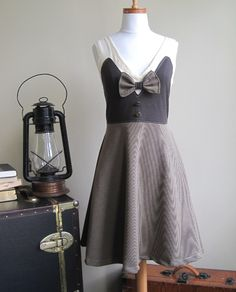 If I had tons of money.... I'd buy this! Summer Tuxedo Dress - brown and cream, bow tie, vintage style, small medium large. $130.00, via Etsy.