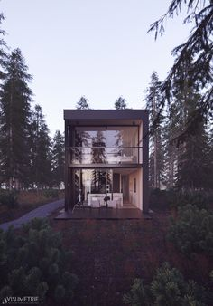 """This project emerged from a 3D-Architecture Competition. The building was originally designed by Scheidt Kasprusch Architekten. Every participant of the competition was supposed to set the scene on a provided 3D model. The 3D model was provided by Oliver Wende. Read on and enjoy! I named the project """"Black Box"""" because I consider its basic shape as a dark box. When I saw the 3D model I decided immediately to put it in the forest. The inspiration for the sunset atmosphere came from a…"""