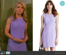 Jennifer's purple sleeveless shift dress on Days of our Lives.  Outfit Details: https://wornontv.net/58681/ #DaysofourLives