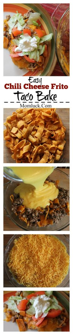 Easy Chili Cheese Frito Taco Bake: Kid Friendly Recipe Great for Weeknights! Beef Dishes, Food Dishes, Main Dishes, Frito Taco Bake Recipe, Taco Casserole, Casserole Recipes, Mexican Dishes, Mexican Food Recipes, Great Recipes