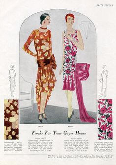 Frocks for your Gayer Hours #vintage #illustration #1929