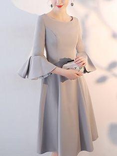 Cream Elegant Bell Sleeves Swing Plus Size Midi Dress Elegant Dresses  Classy 8a33b045b503