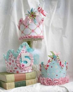 Princess Party Hats Cupcakes at a Modern Asian Themed Birthday Party with Lots of Cute Ideas via Kara's Party Ideas Cute party hat idea . Birthday Fun, 1st Birthday Parties, Birthday Crowns, Birthday Hats, Birthday Ideas, Classroom Birthday, Paper Crowns, Festa Party, Princess Party
