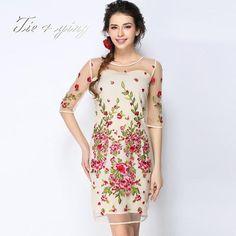 2015 party dress High quality chiffon O-neck half sleeve embroidered flowers elegant slim dresses fashionable women clothes XXL - Instyfind