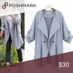🆕🍁🍂Soft Light Trench - Baby Blue Beautiful and stylish. 🍁🍂Perfect for fall🍂🍁 Material: Blend of Cotton/Polyester/Chiffon. ✨Unlined❗️Thin-trench style. ✨Each side has pockets❗️Please refer to the 2nd photo for exact measurements. ❌Trades❌Off-Posh transactions❌Lowballs ✔️Reasonable offers welcome ✔️Bundling highly recommended. Vintage Jackets & Coats Trench Coats